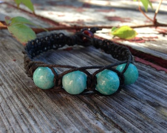 Amazonite Crystal Beads Black Organic Hemp Bracelet - Anxiety Releasing Blue Gemstone Macrame Bracelet Hippie Healing Crystals