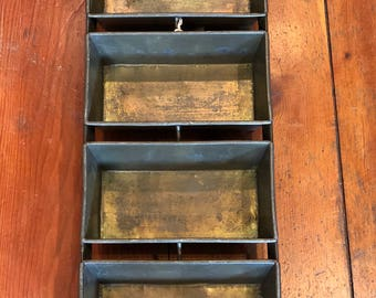 Vintage 1940's - 1950's Lockwood Industrial 4 Loaf Metal Bread Pan Repurposed as Center Piece / Wall Hanging Display / Food Server / Storage