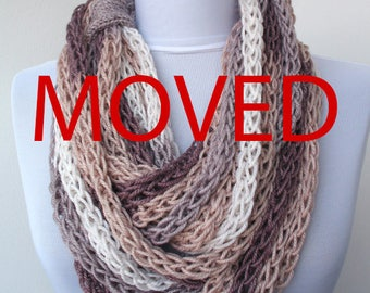 MOVED ITEM - Scarf necklace - loop scarf -infinity scarf -neck warmer -hand knitted- cashmere -cream, grey, brown,white E051