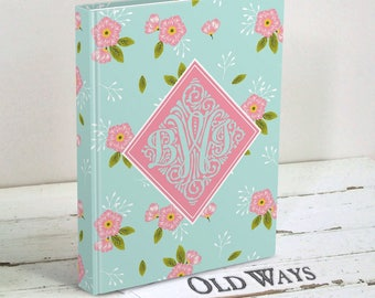Gift Idea for Friend - Aqua and Pink Floral Journal Personalized with Monogram - Hardcover Journal - Monogram Gift - Personalized Gift