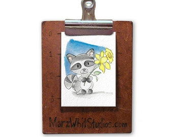 Raccoon with Daffodil - ACEO - Watercolor - 140 pound Watercolor Paper