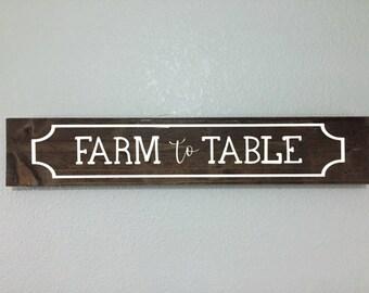 Farm to Table Wooden Sign - Farmhouse Style, Farmhouse Decor, Kitchen Signs, Dining Room Signs - Wall Decor, Farm Charm Decor