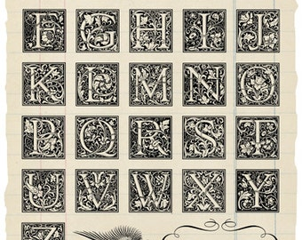 Ornate Alphabet rubber stamp collection
