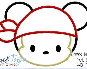 Tsum Pirate Mickey Embroidery Design 4x4, 5x7, 6x10, 7x10 in 9 formats-Applique Instant Download-David Taylor Digitizing