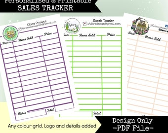 Personalised Printable Business Sales Tracker Sheet to print yourself
