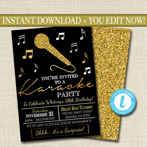 editable adult karaoke party invitation birthday invitation