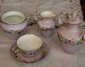 Service à thé en porcelaine SEVRES, service à thé en porcelaine Français, égoïste service à thé en porcelaine, porcelaine de Sèvres rose Français, tasse à thé en porcelaine et soucoupe