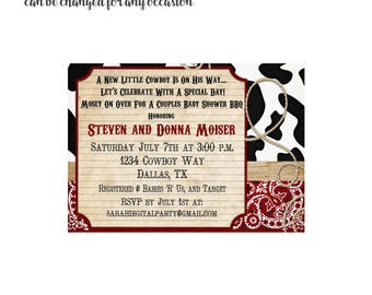 Cowprint rustic Invitation 4x6 or 5x7 digital you print your own- Design 101