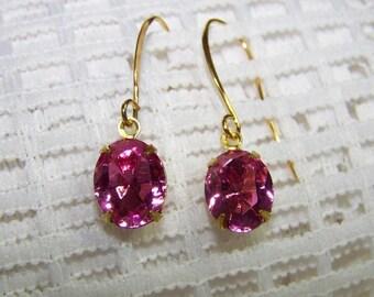 Rose Pink Crystal Earrings, Victorian Rose Dangle Earrings, Faceted Crystal Dangle Earrings, Bight Pink Crystal Earrings, Rose Pink Earrings