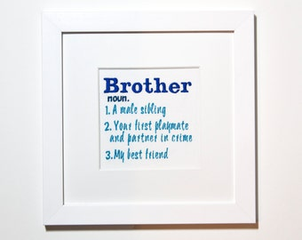 Brother Definition Gift Ideas Print Birthday For