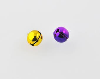 Yellow and purple metal bells