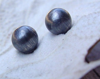 Medium Sterling Silver Studs, Siver Stud Earrings, Oxidized Sterling Silver Post Earrings, Silver Studs Earrings, Black Stud Earrings