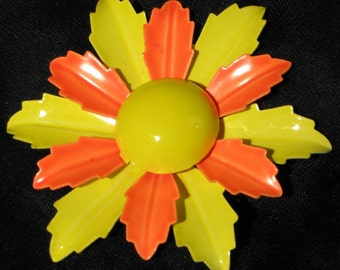 Fruit Salad Vintage Brooch Flower Pin Carmen Miranda Cha Cha Orange Yellow Mid Century BLoomer Runway Statement High Relief Layered Mad Men