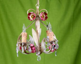 Vintage Tole Chandelier, Made in Italy