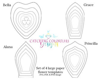 Large Paper Flowers, Flower Templates, How to Make Paper Flowers, Printable Giant Paper Flower Templates, SVG Cut File Paper Flowers