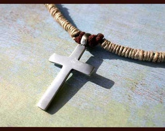 Leather Hemp Surfer Necklace With Big Cross Distresed Cord