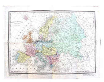 Antique map (ca. 1890s) of Europe - geography, original print