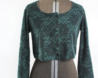 1980s/90s Green Long Sleeve Crop Top Jacket