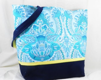 Large Purse, Amy Butler Tote, Fountain Flora, Handmade Library Bag