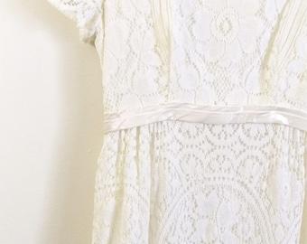 Vintage 1960s Wedding Dress Emma Domb Wedding Dress White Emma Domb 60s Wedding Gown Lace Wedding Dress Lace Empire Waist XS Small Pe