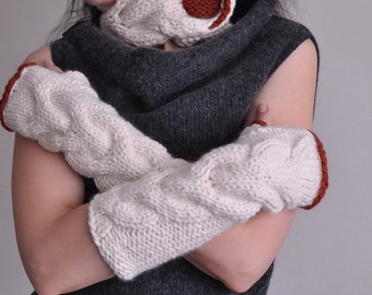 2 in 1 COMBO - Winter Delight set hand knit braided neckwarmer and fingerless gloves armwarmers SET in cream / spice or choose your colors