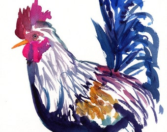 Kauai Kilohana Rooster 2  8x10 art print from Kauai Hawaii hot pink navy gold purple