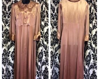 40's Quartz Pink Satin & Rayon Dressing Gown