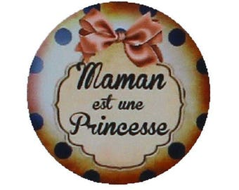 Set of 2 mother's day 30mm, caramel and black glass round cabochon