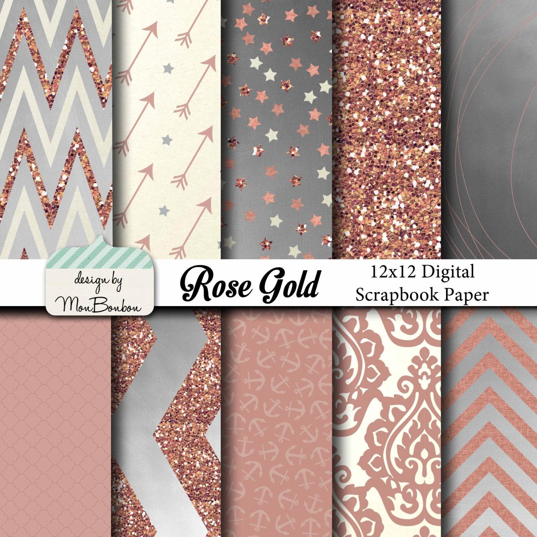 Rose Gold Digital Paper Backgrounds Pack 12x12