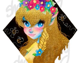 Queen Bee / 5x7 Glossy Photo Print / Gold Hair Illustration
