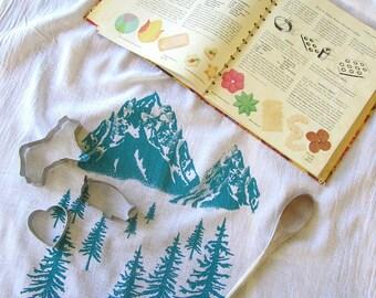 Tea Towel - Screen Printed Flour Sack Towel - Soft and Absorbent - Kitchen Towel - Eco Friendly Cotton - Classic Flour Sack Towel - Mountain