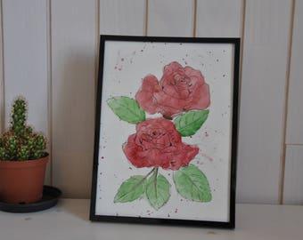 Watercolor red roses