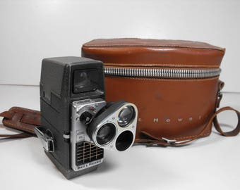 Bell & Howell Electric Eye 8mm Movie Camera with Rotating Lens and Leather Case   (1395)