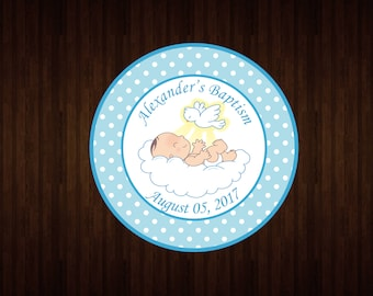 Personalized sticker labels - baptism - 1.25 in - 1.5 in - 1.75 in - 2 in
