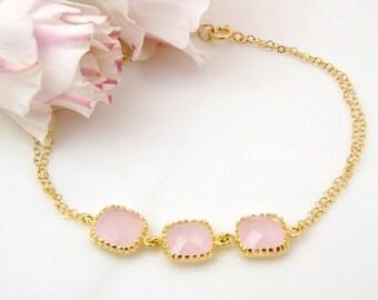 Pink Bridesmaid Bracelet, Pink Gold Bracelet, Blush Wedding Jewelry, Blush Pink Wedding Jewelry, Blush Bridesmaid Jewelry, Simple Bracelet