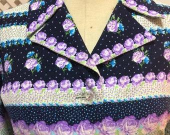 Vintage 70s Blue Roses Dress