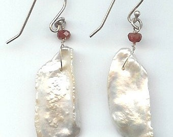 Large, Long Pearl and Ruby Earrings