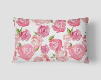 """Pink Peonies // Decorative Pillow Cover 12""""x18"""" // Lumbar Pillow // Rectangular Throw Pillow"""