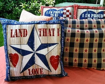 Navy blue Land That I Love Pillow, patriotic, red white and blue, stars and stripes, rustic, Independence day