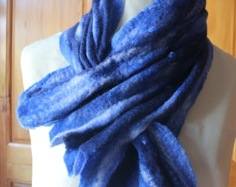 Mixed Blend Felt Scarf In Blues - Bluebell, Navy, Royal - And White