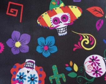 Mexican Sugarskull, Black Satin, Handmade Vintage style dress