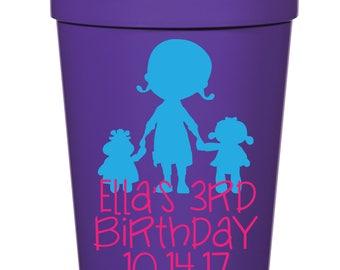 Doc McStuffins Birthday Favor- 16 oz. Reusable Plastic Stadium Cup- Minimum Purchase of 12 Cups!