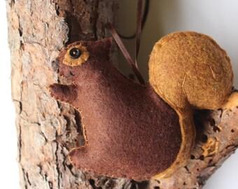 Squirrel Ornament, Christmas Ornament,  Felt Ornament, Woodland Animal Ornament, Felt Squirrel Ornament, Handmade Ornament