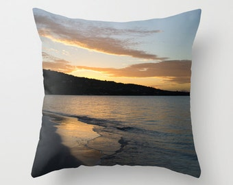 Ocean Pillow Cover, Beach Sunset, Interior Design, Landscape Art, Tropical Photography, Indoor or Outdoor, Decorative Throw Pillow, Jamaica