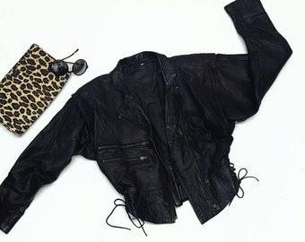 80s Black leather medium womens Jacket Vintage Moto Jacket