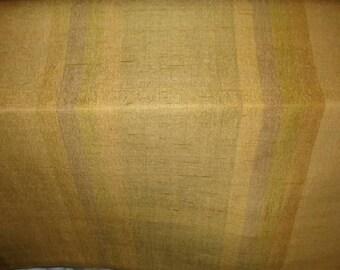 Raw SILK GOLD Pewter Indigo Green Muted STRIPE Fabric,19-60-13-0410