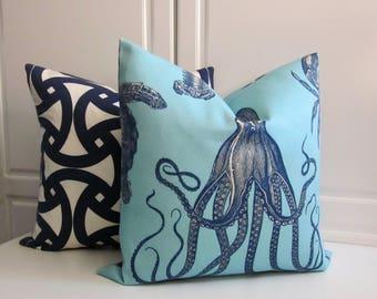 Thomas Paul Decorative Pillow Cover-Adriatic Ocean Marine Life-Sky Blue & Indigo-Indoor/Outdoor-18x18, 20x20