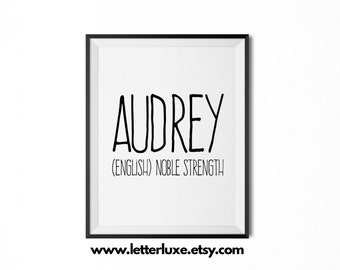 Audrey Name Meaning Art - Printable Baby Shower Gift - Nursery Printable Art - Digital Print - Nursery Decor - Typography Wall Decor