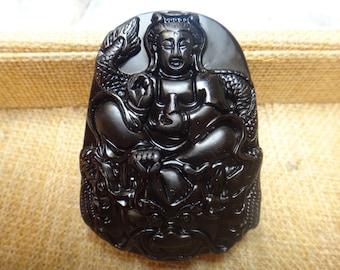 Natural obsidian riding  dragon Guanyin Pendant