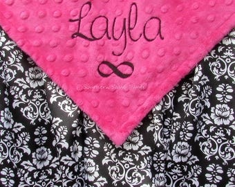 Minky and Satin Baby Blanket, Satin Baby Blanket, Baby Girl, Personalized Baby Girl Blanket, Blanket with Name, Embroidered Infinity Symbol